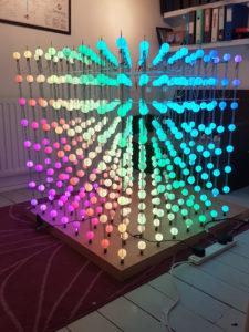 Cubert a 1 metre cube of light up LED ping pong balls