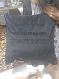A laser etched cushion made by Hex